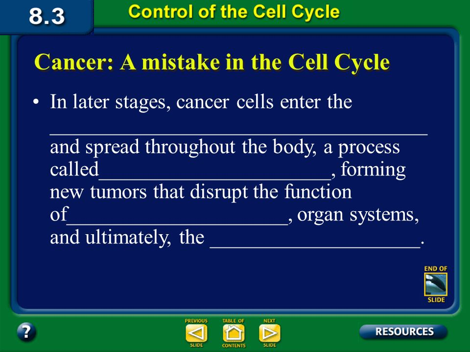 Section 8.3 Summary – pages Cancer: A mistake in the Cell Cycle Currently, scientists consider cancer to be a ____________________________________ ____________________________________ that produce substances that are involved in controlling the cell cycle.