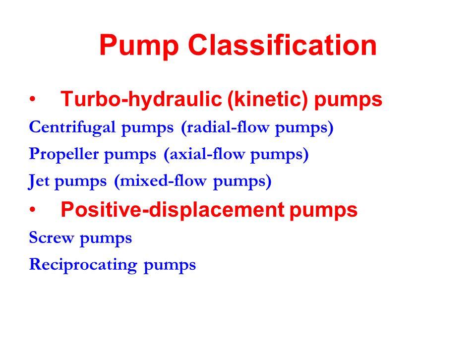 Pump Classification Turbo-hydraulic (kinetic) pumps Centrifugal pumps (radial-flow pumps) Propeller pumps (axial-flow pumps) Jet pumps (mixed-flow pumps) Positive-displacement pumps Screw pumps Reciprocating pumps