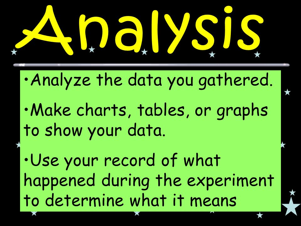 Analyze the data you gathered. Make charts, tables, or graphs to show your data.