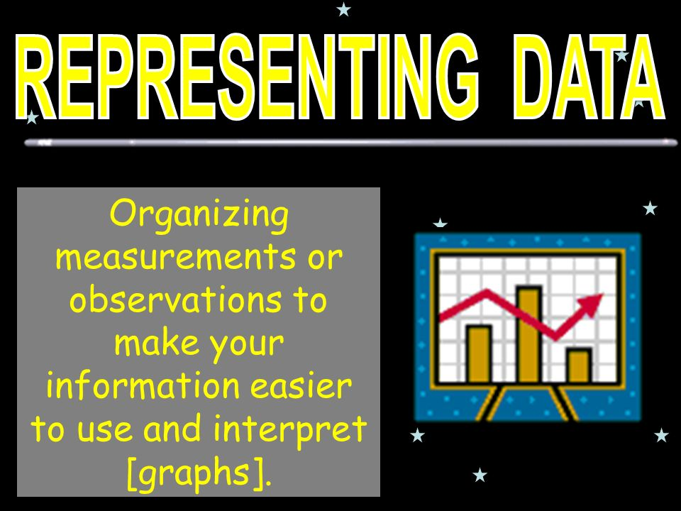 Organizing measurements or observations to make your information easier to use and interpret [graphs].