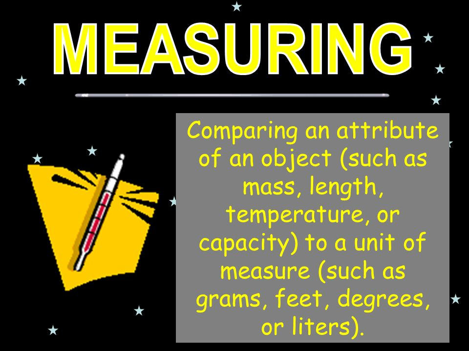 Comparing an attribute of an object (such as mass, length, temperature, or capacity) to a unit of measure (such as grams, feet, degrees, or liters).