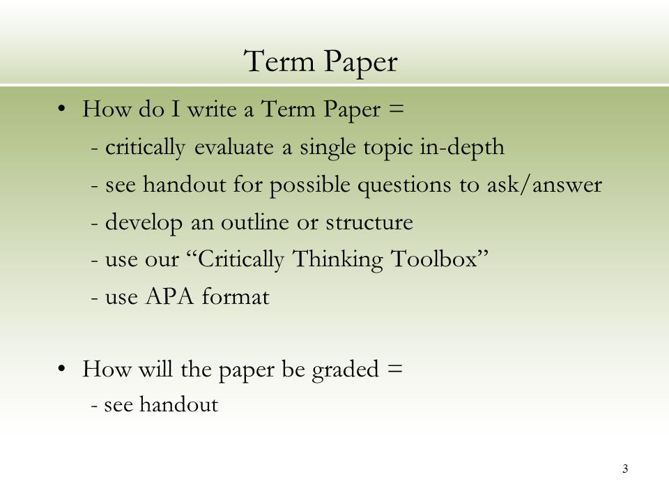 WHAT IS A TERM PAPER?!?