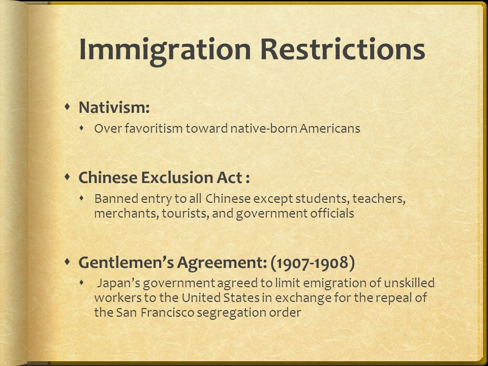 The golden door reasons for moving famine land shortages exclusion act banned entry to all chinese except students teachers merchants tourists and government officials gentlemens agreement platinumwayz