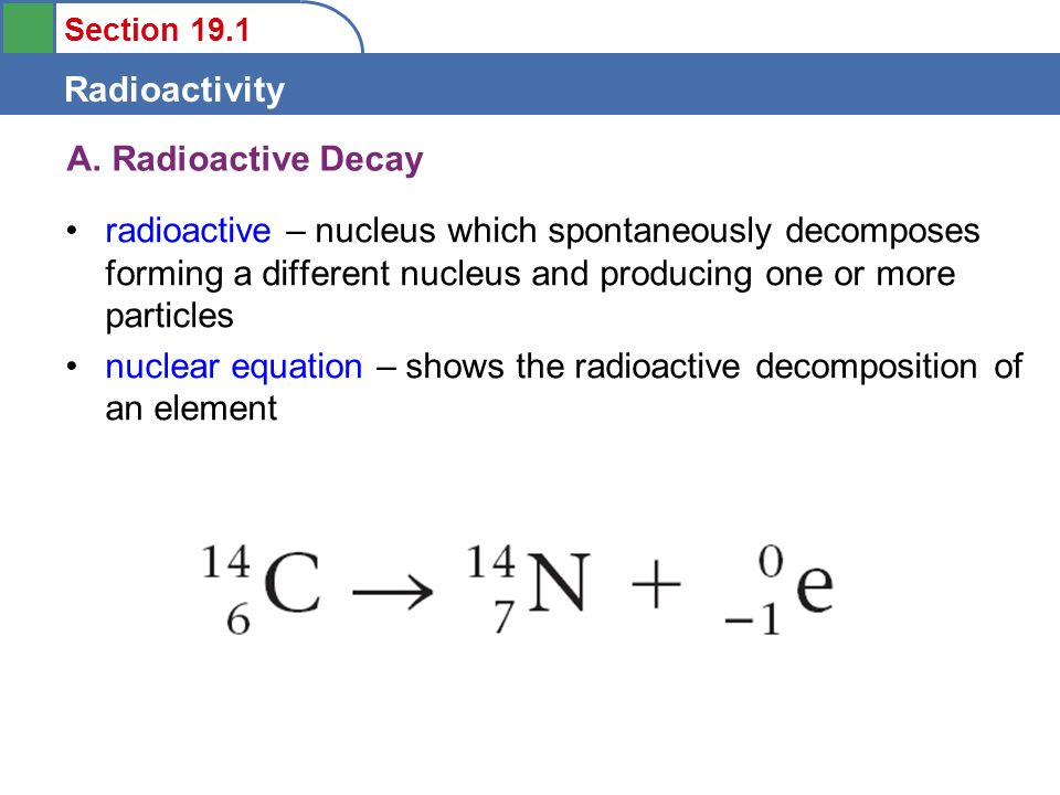 Section 19.1 Radioactivity 1.To learn the types of radioactive ...