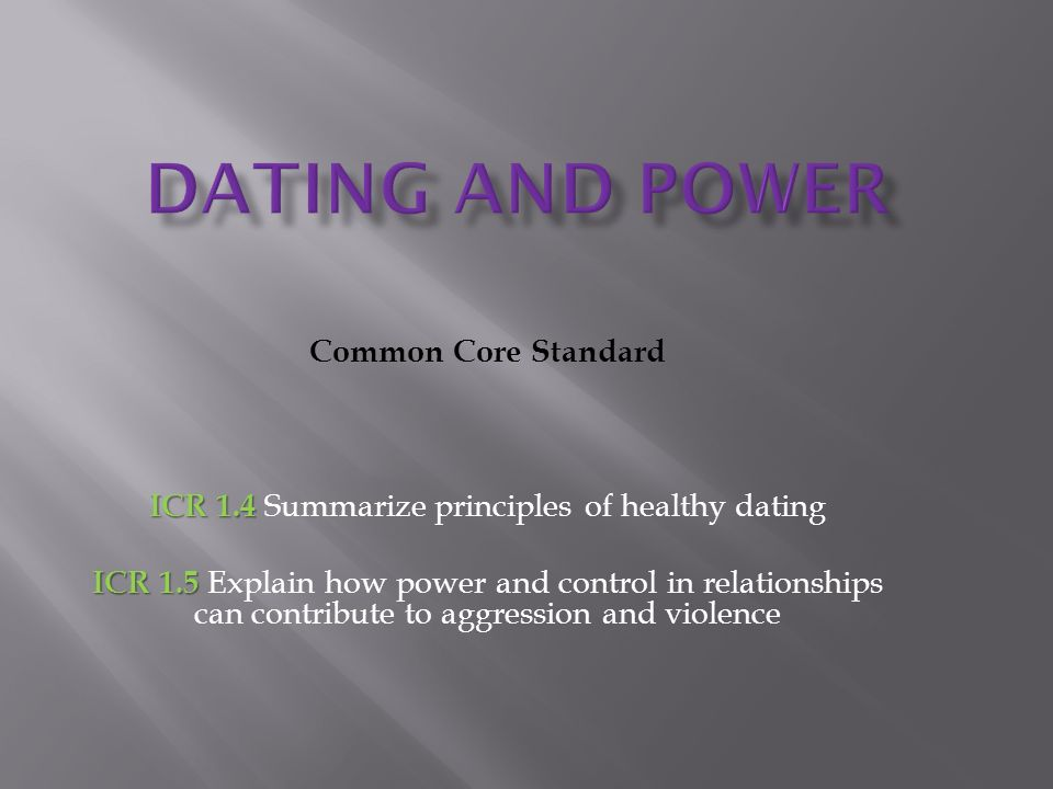 Principles for healthy dating