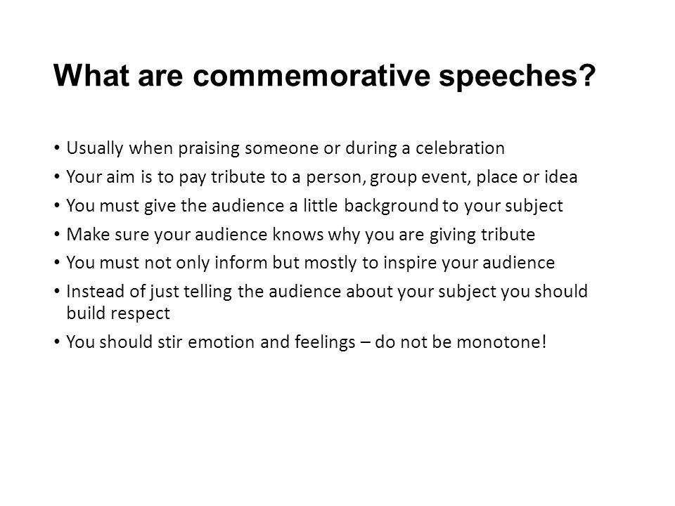 Special Occasion Speeches Class Notes When Giving A Speech