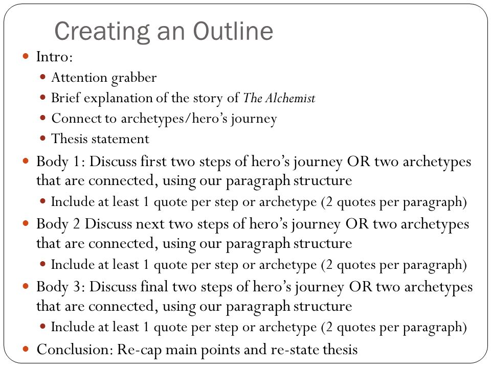 Creating an Outline Intro: Attention grabber Brief explanation of the story of The Alchemist Connect to archetypes/hero's journey Thesis statement Body 1: Discuss first two steps of hero's journey OR two archetypes that are connected, using our paragraph structure Include at least 1 quote per step or archetype (2 quotes per paragraph) Body 2 Discuss next two steps of hero's journey OR two archetypes that are connected, using our paragraph structure Include at least 1 quote per step or archetype (2 quotes per paragraph) Body 3: Discuss final two steps of hero's journey OR two archetypes that are connected, using our paragraph structure Include at least 1 quote per step or archetype (2 quotes per paragraph) Conclusion: Re-cap main points and re-state thesis