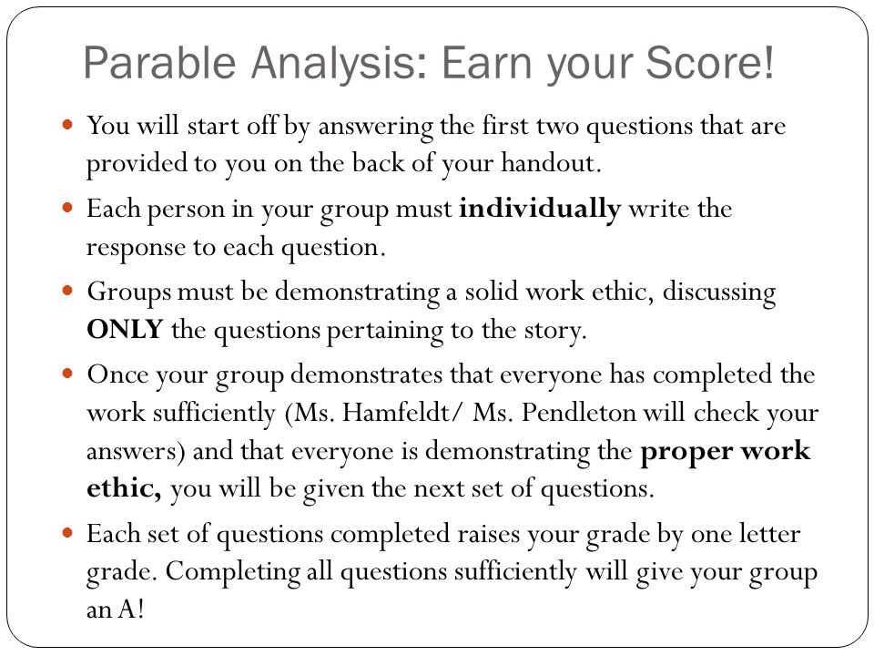 Parable Analysis: Earn your Score.