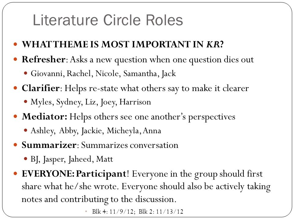 Literature Circle Roles WHAT THEME IS MOST IMPORTANT IN KR.