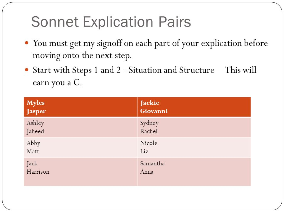 Sonnet Explication Pairs You must get my signoff on each part of your explication before moving onto the next step.