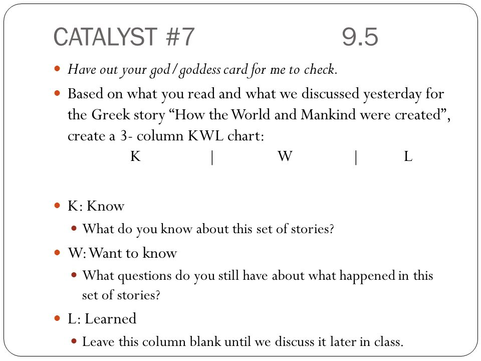 CATALYST #79.5 Have out your god/goddess card for me to check.