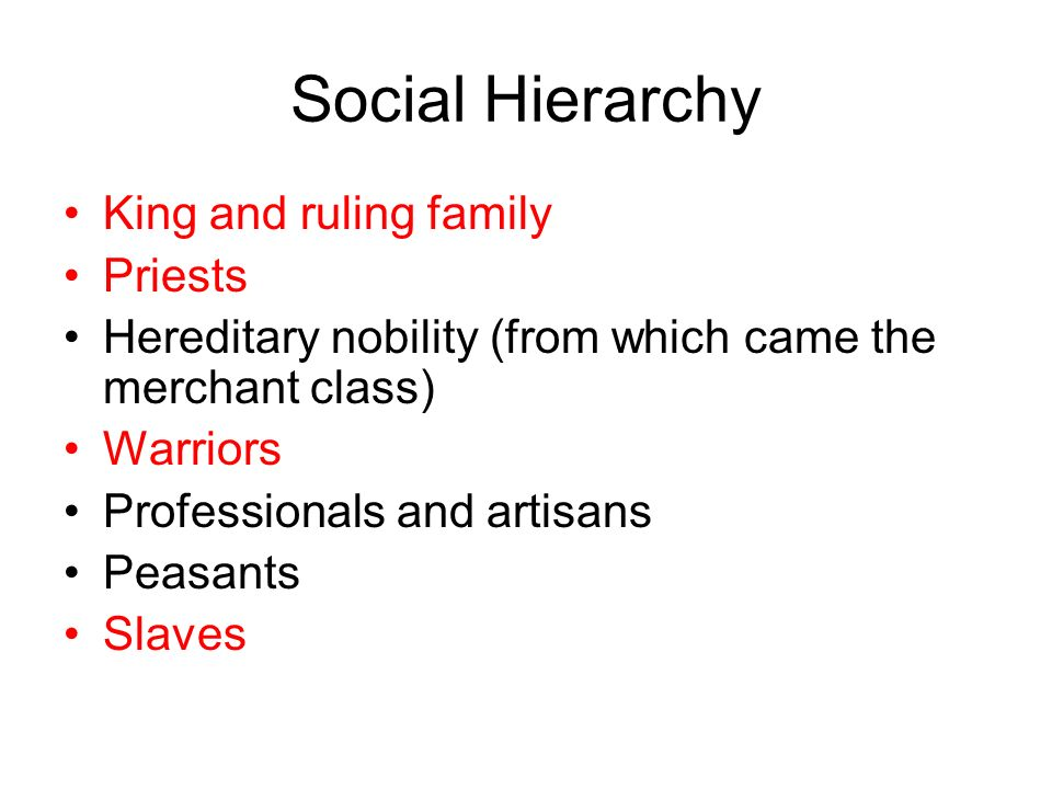 Social Hierarchy King and ruling family Priests Hereditary nobility (from which came the merchant class) Warriors Professionals and artisans Peasants Slaves