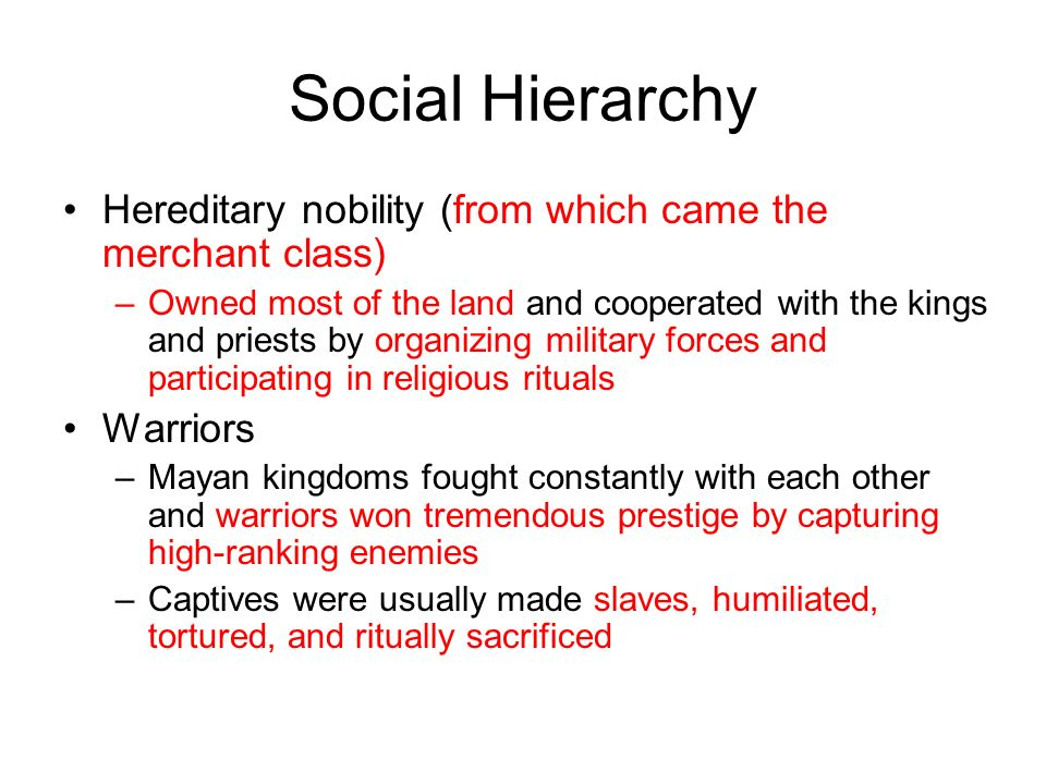 Social Hierarchy Hereditary nobility (from which came the merchant class) –Owned most of the land and cooperated with the kings and priests by organizing military forces and participating in religious rituals Warriors –Mayan kingdoms fought constantly with each other and warriors won tremendous prestige by capturing high-ranking enemies –Captives were usually made slaves, humiliated, tortured, and ritually sacrificed