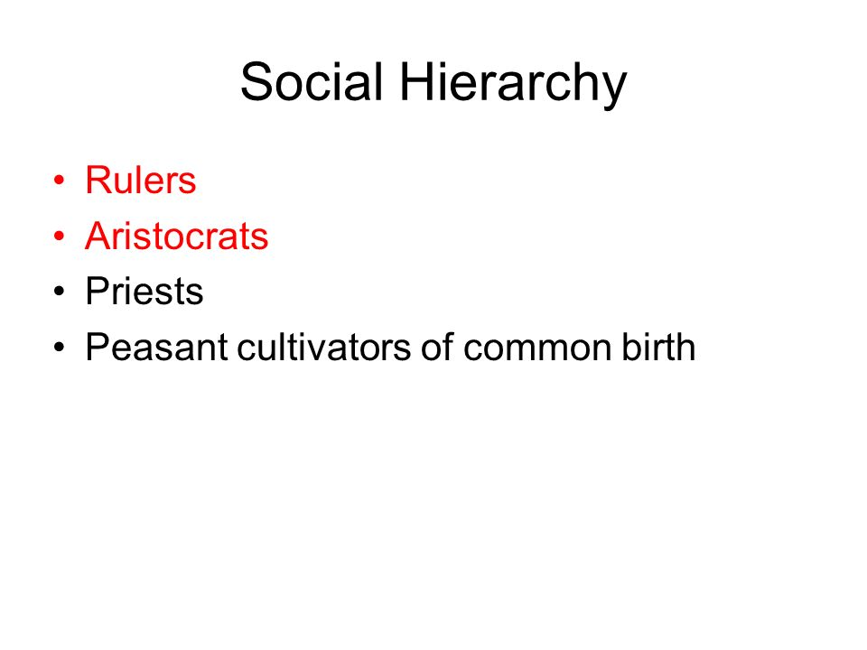 Rulers Aristocrats Priests Peasant cultivators of common birth