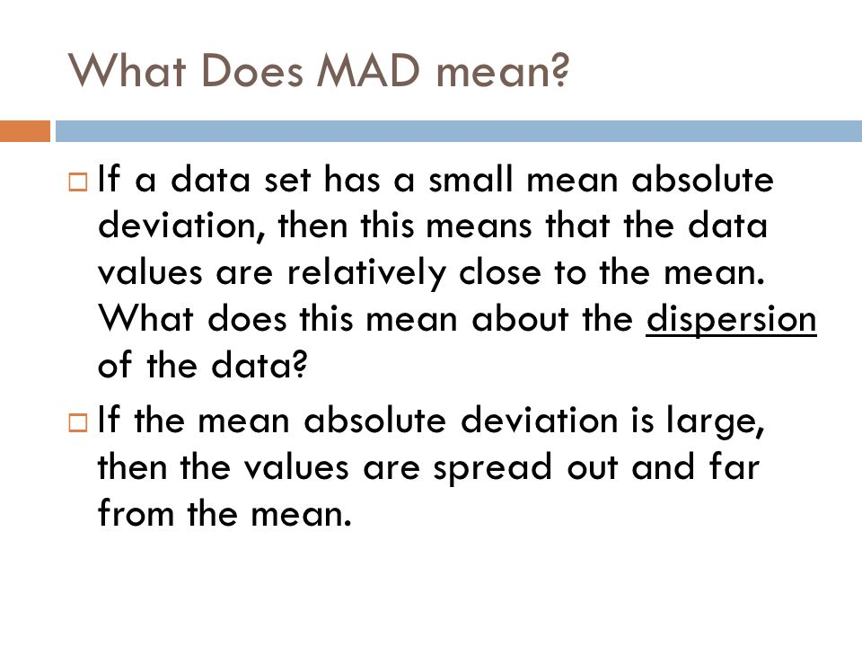 What is Mean Absolute Deviation Another measure of variability – Mean Absolute Deviation Worksheet