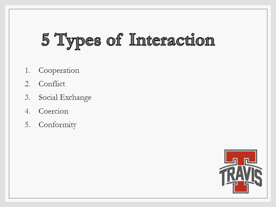 1.Cooperation 2.Conflict 3.Social Exchange 4.Coercion 5.Conformity