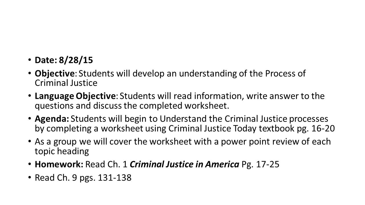 Worksheets Criminal Thinking Worksheets criminal justice date 9815 objective students will begin to 9 date