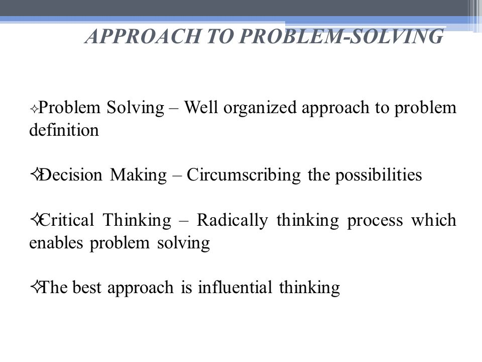 problem solving approach to the care