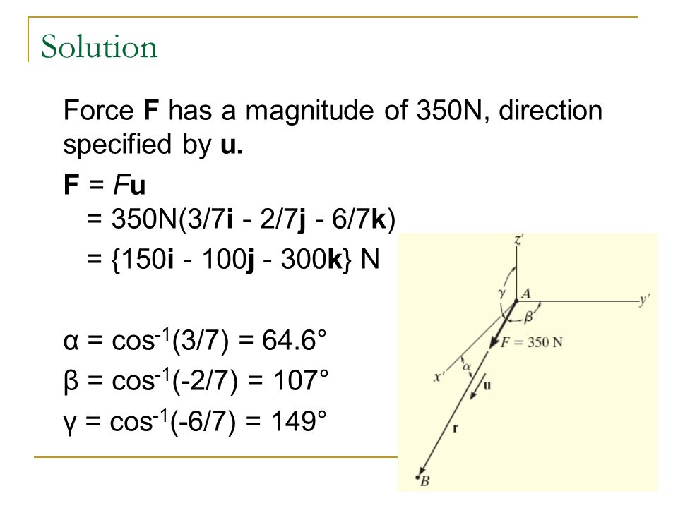 Solution Force F has a magnitude of 350N, direction specified by u.