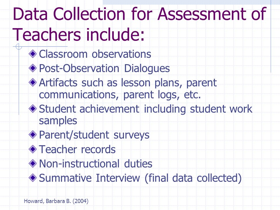 Howard, Barbara B. (2004) Data Collection for Assessment of Teachers include: Classroom observations Post-Observation Dialogues Artifacts such as less