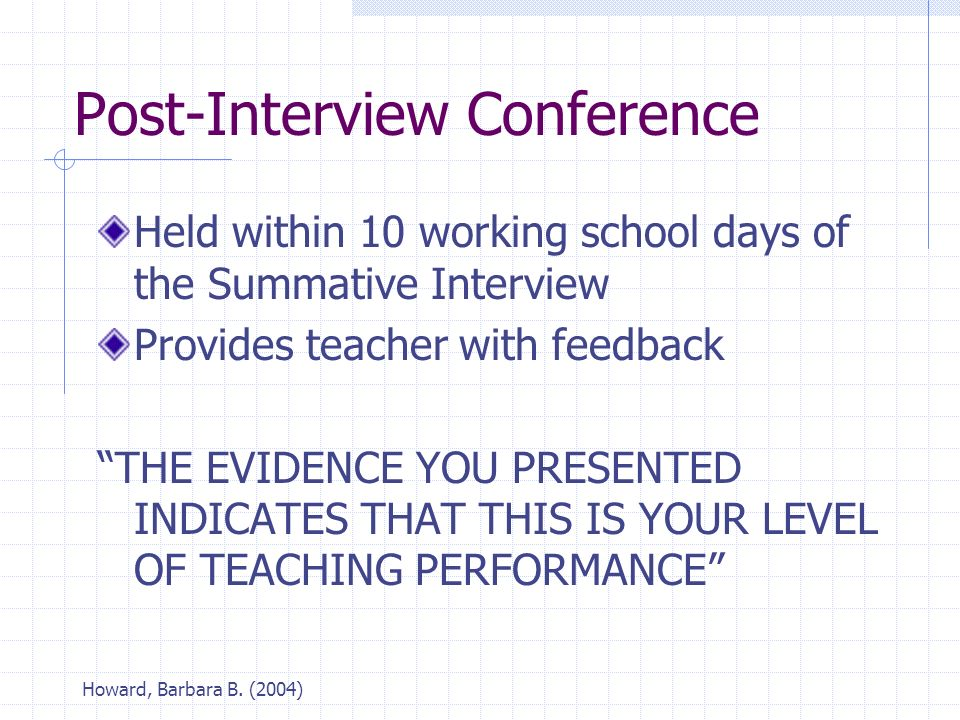"Howard, Barbara B. (2004) Post-Interview Conference Held within 10 working school days of the Summative Interview Provides teacher with feedback ""THE"