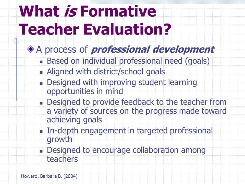 Howard, Barbara B. (2004) What is Formative Teacher Evaluation.