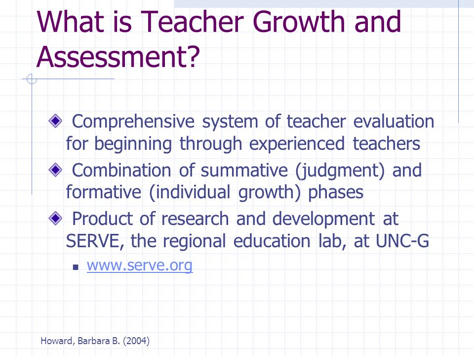 Howard, Barbara B. (2004) What is Teacher Growth and Assessment.