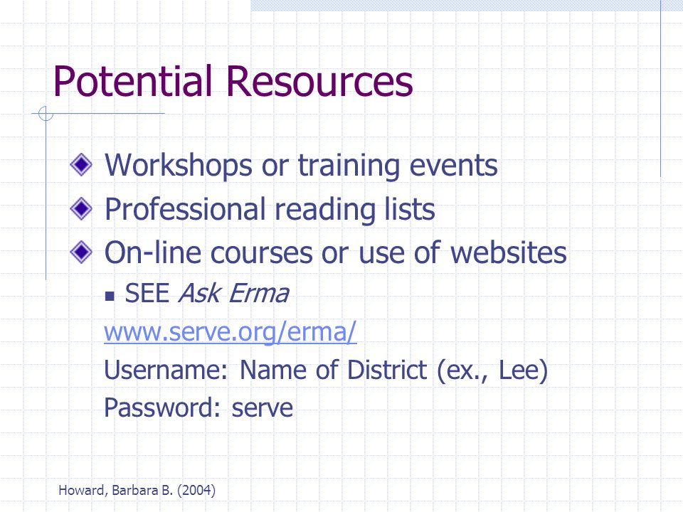 Howard, Barbara B. (2004) Potential Resources Workshops or training events Professional reading lists On-line courses or use of websites SEE Ask Erma