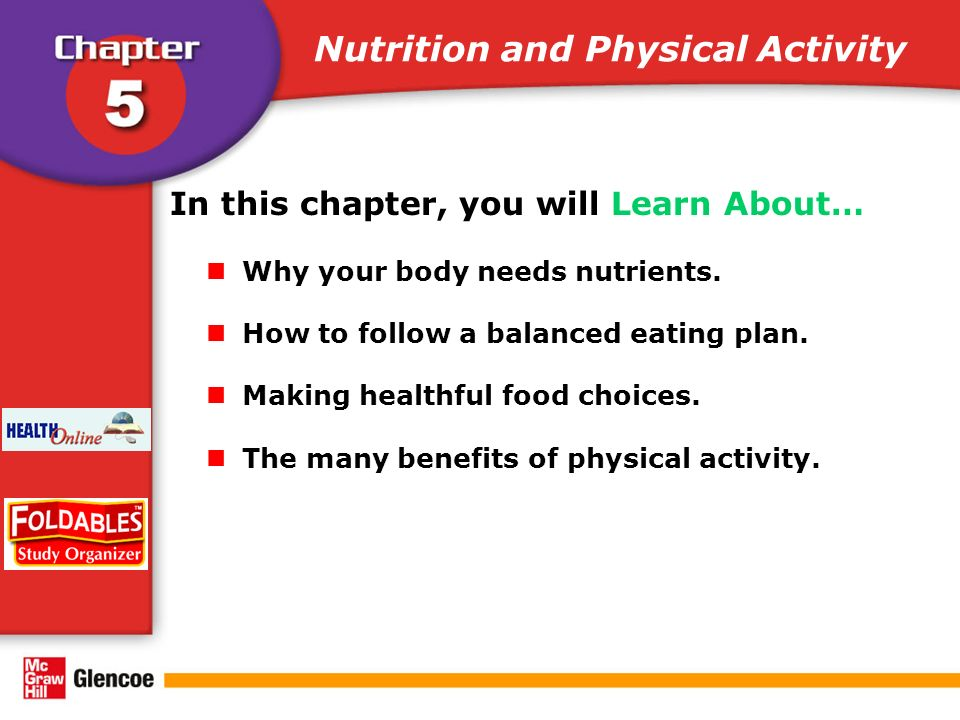 Nutrition and Physical Activity In this chapter, you will Learn About… Why your body needs nutrients.