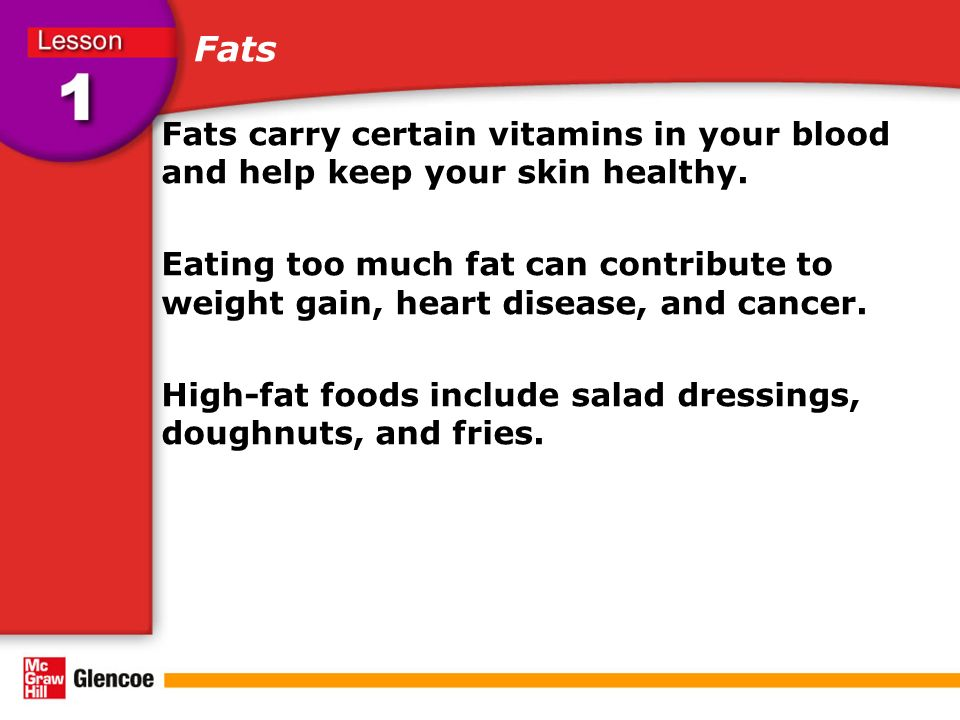 Fats Fats carry certain vitamins in your blood and help keep your skin healthy.