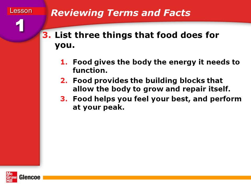 3.List three things that food does for you. 1.Food gives the body the energy it needs to function.