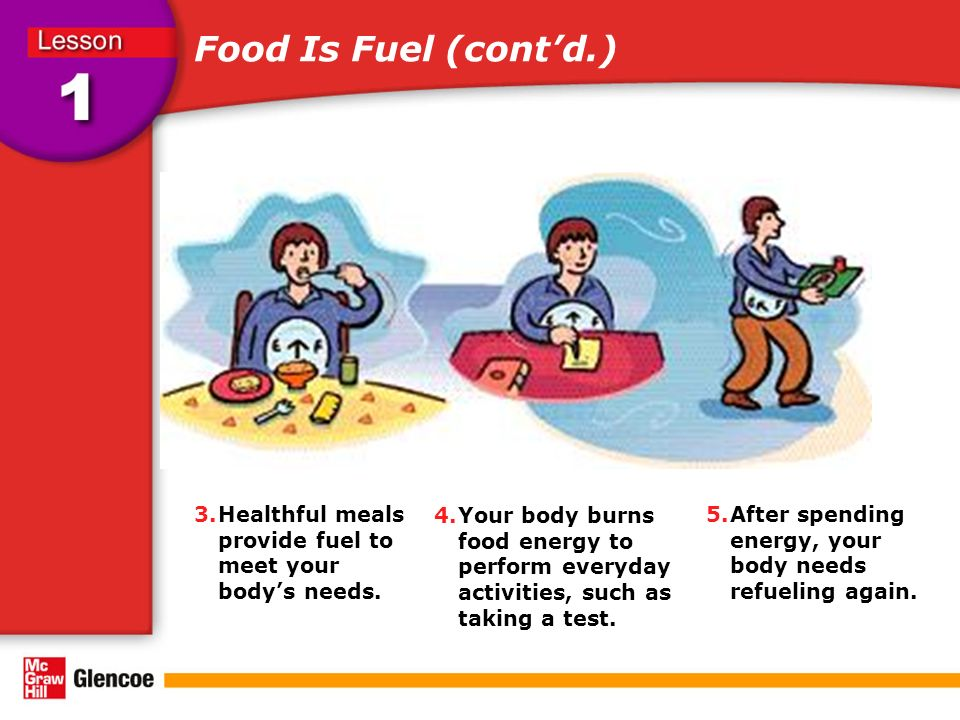 Food Is Fuel (cont'd.) 4.Your body burns food energy to perform everyday activities, such as taking a test.