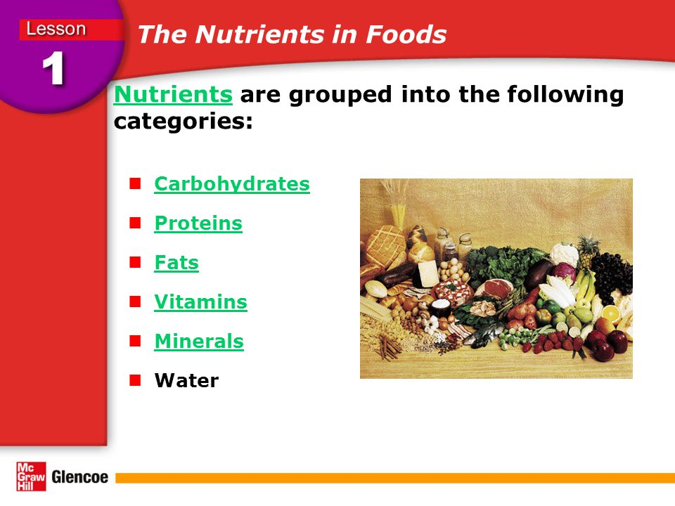 The Nutrients in Foods NutrientsNutrients are grouped into the following categories: Carbohydrates Proteins Fats Vitamins Minerals Water