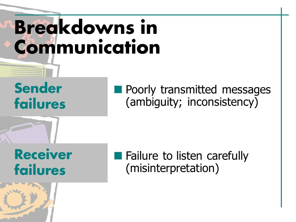 Breakdowns in Communication Poorly transmitted messages (ambiguity; inconsistency) Sender failures Failure to listen carefully (misinterpretation) Receiver failures