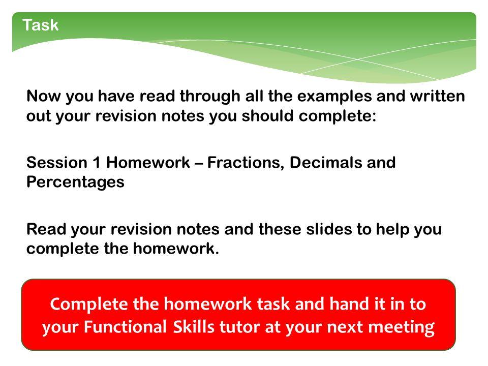 Percentages Homework