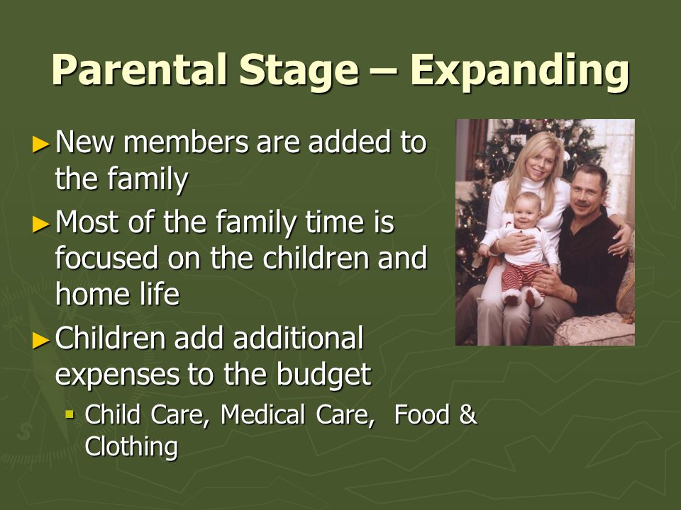 Parental Stage – Expanding ► New members are added to the family ► Most of the family time is focused on the children and home life ► Children add add