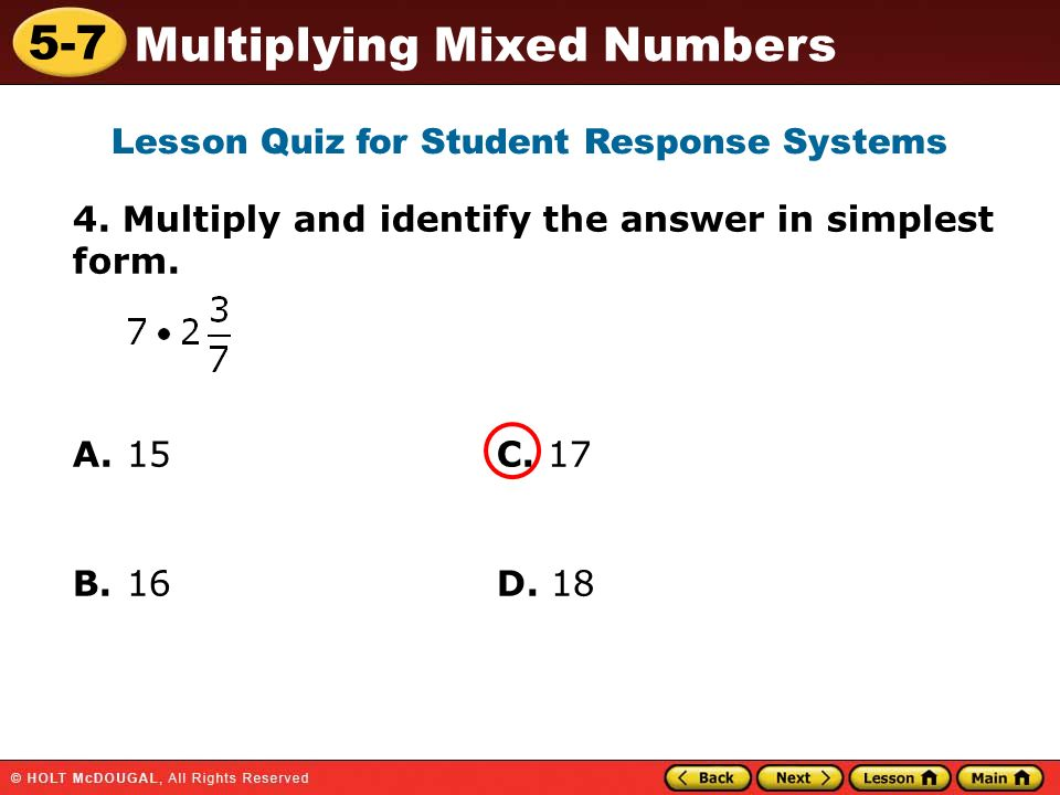 5-7 Multiplying Mixed Numbers Warm Up Warm Up Lesson Presentation ...