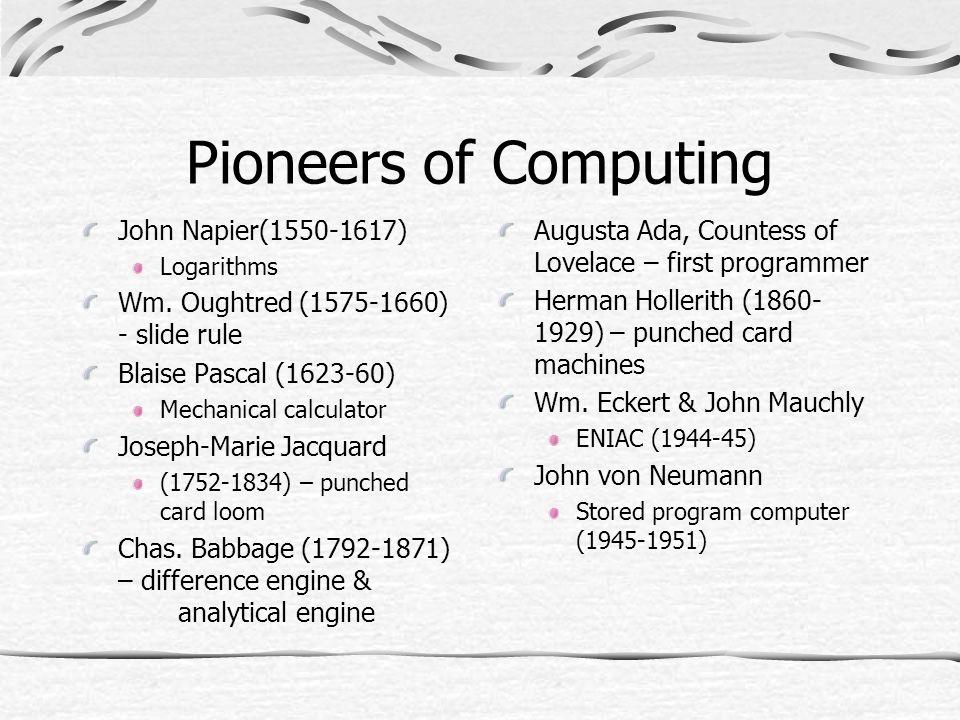 Pioneers of Computing John Napier(1550-1617) Logarithms Wm.