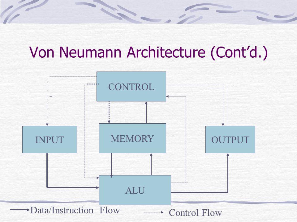 Von Neumann Architecture (Cont'd.) CONTROL MEMORY ALU INPUTOUTPUT Data/Instruction Flow Control Flow