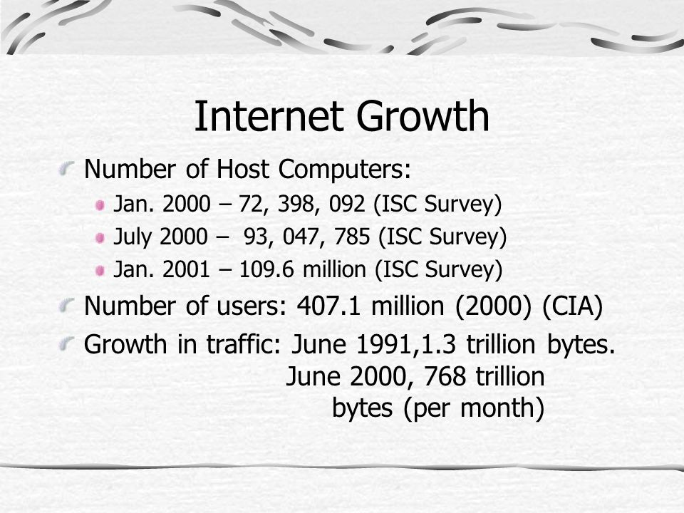 Internet Growth Number of Host Computers: Jan.