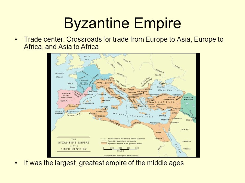 Trade center: Crossroads for trade from Europe to Asia, Europe to Africa, and Asia to Africa It was the largest, greatest empire of the middle ages