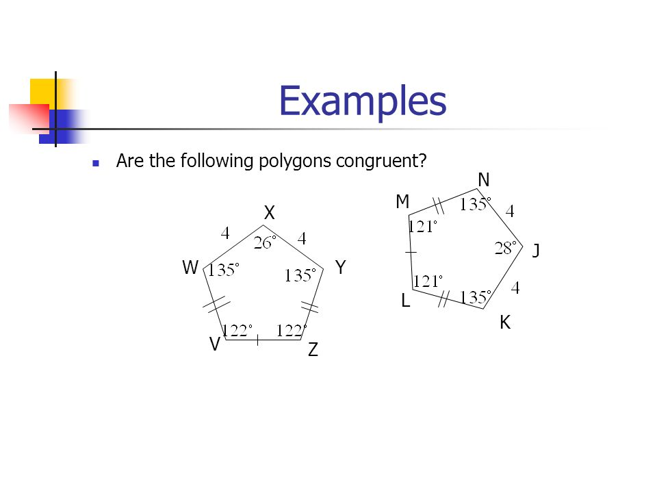 Examples Are the following polygons congruent W V X Y Z M L N J K