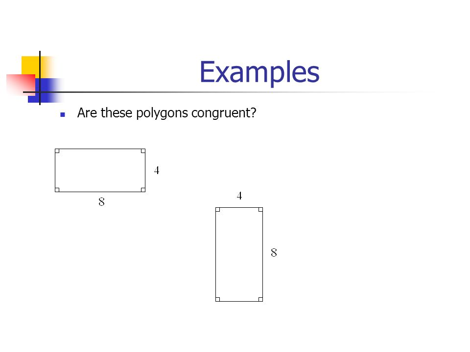 Examples Are these polygons congruent