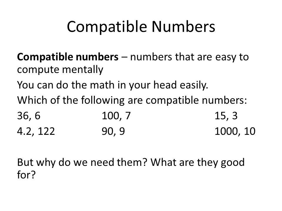 Descubre el Compatible Numbers – Compatible Numbers Worksheet
