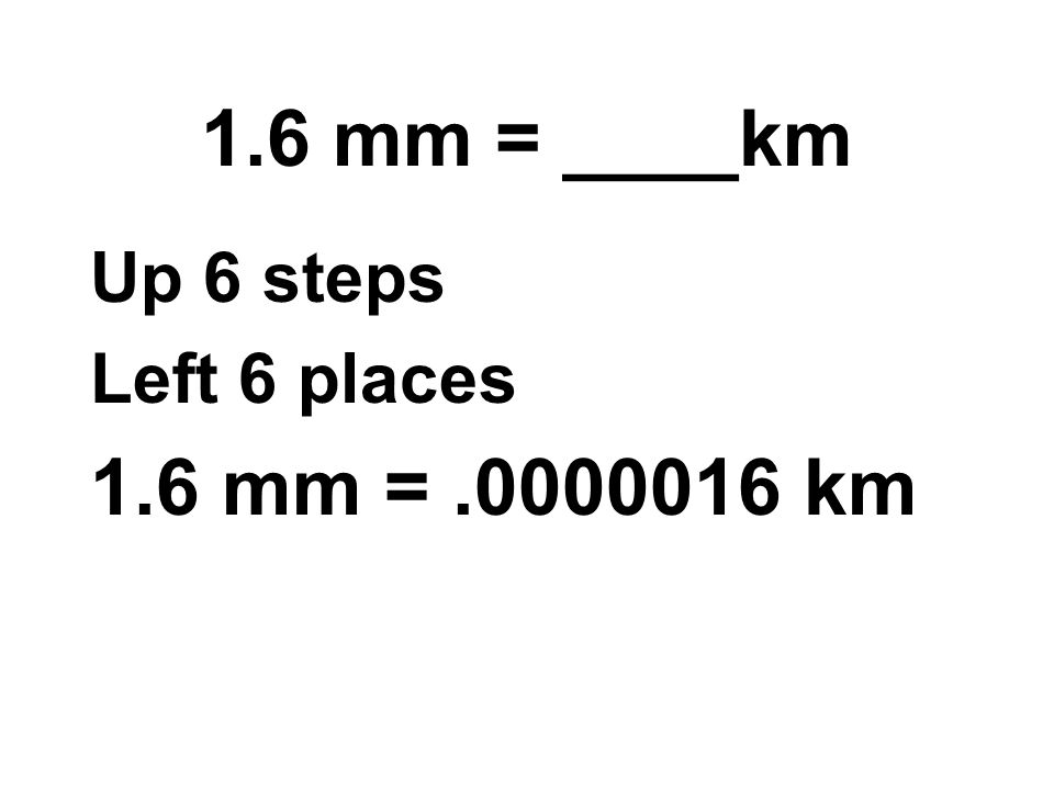 1.6 mm = ____km Up 6 steps Left 6 places 1.6 mm = km