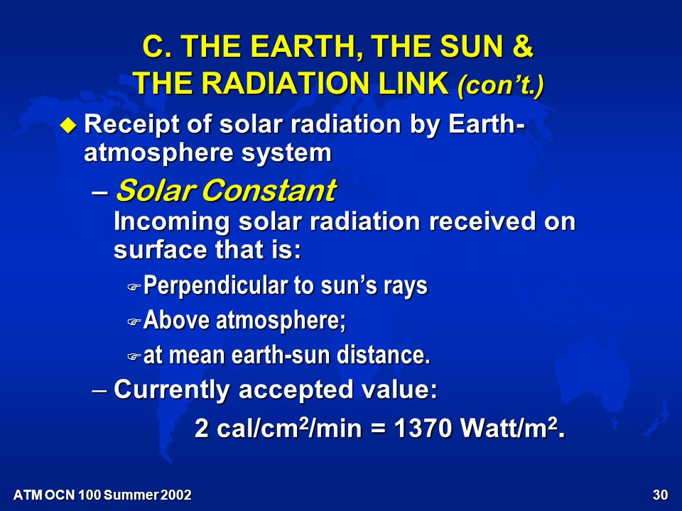 ATM OCN 100 Summer Extra-atmospheric Solar Radiation See Fig 2.3, Moran & Morgan (1997)