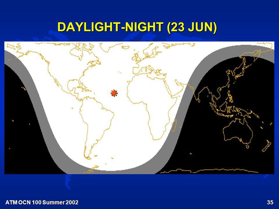 ATM OCN 100 Summer Earth's Orbit of Sun – The Cause of the Seasons See Fig.
