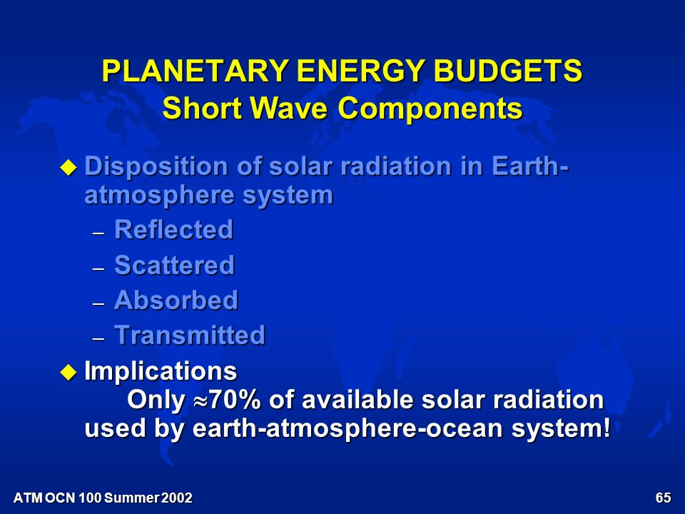 ATM OCN 100 Summer Short-wave radiation components of the Annual Average Planetary Energy Budget Fig.