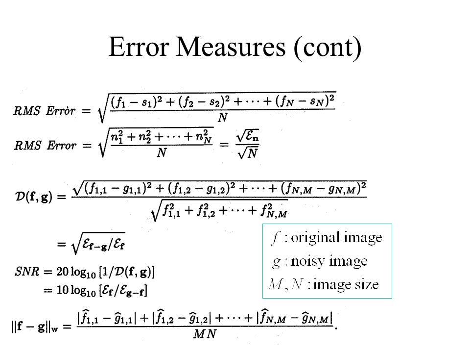 Error Measures (cont)