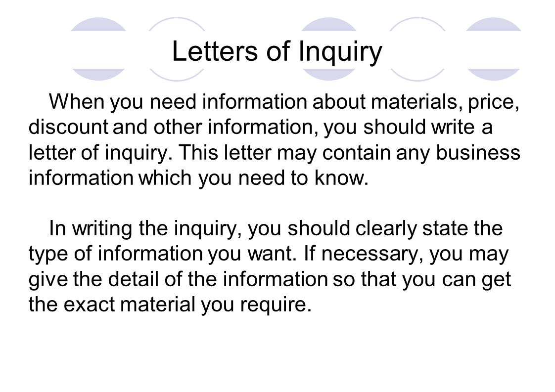 letters of inquiry when you need information about materials 1 letters